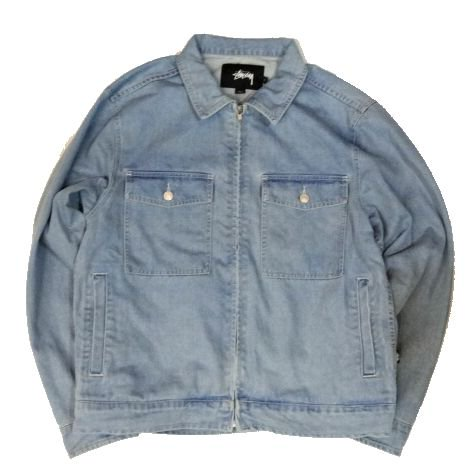 <img class='new_mark_img1' src='//img.shop-pro.jp/img/new/icons15.gif' style='border:none;display:inline;margin:0px;padding:0px;width:auto;' />STUSSY ステューシー Washed Denim Garage Jacket ウォッシュドデニムガレージジャケット LIGHT BLUE