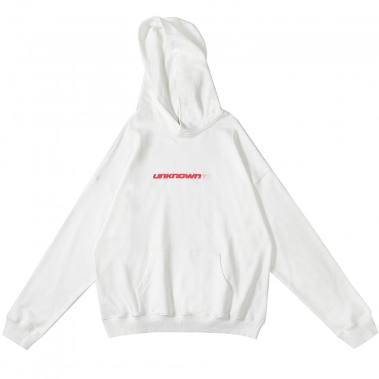 <img class='new_mark_img1' src='//img.shop-pro.jp/img/new/icons15.gif' style='border:none;display:inline;margin:0px;padding:0px;width:auto;' />UNKNOWN アンノウン BLUR LOGO HOODIE ブラーロゴフーディー WHITE