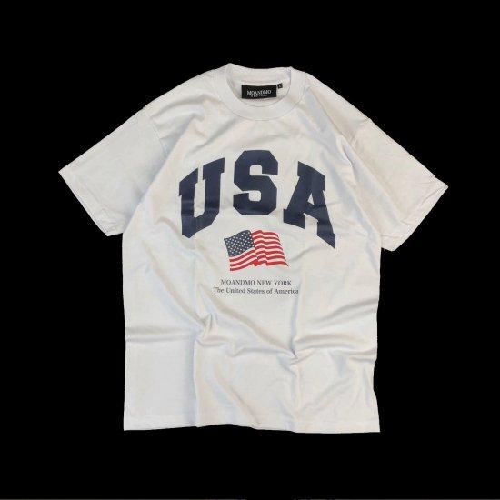 MO'&MO' モーアンドモー USA FLAG TEE ユーエスエーフラッグティー WHITE x NAVY