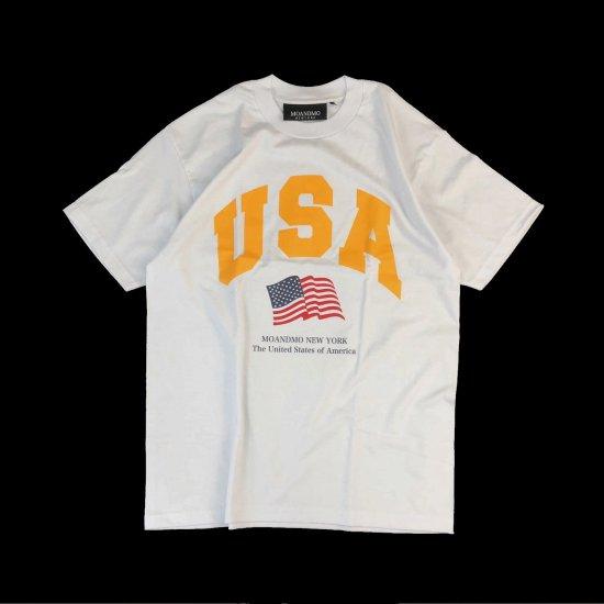 MO'&MO' モーアンドモー USA FLAG TEE ユーエスエーフラッグティー WHITE x YELLOW