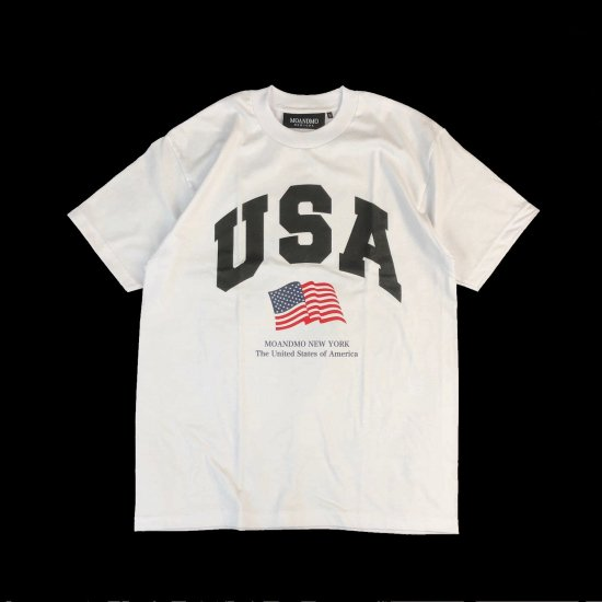 MO'&MO' モーアンドモー USA FLAG TEE ユーエスエーフラッグティー WHITE x BLACK