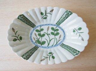 麦絵 菊型楕円鉢