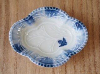 木瓜型豆皿 ふくら雀