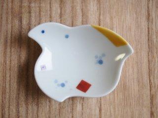 千鳥豆小皿 吹染遊彩黄