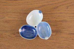 葉型三種皿 染濃淡