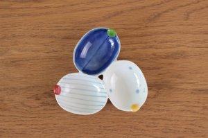 葉型三種皿 二色遊び