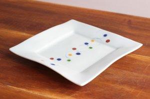 色玉 リム正角皿