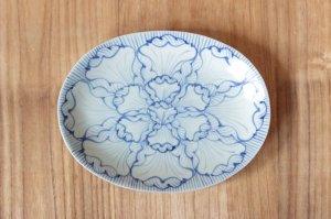 染付花弁紋 楕円皿(大)
