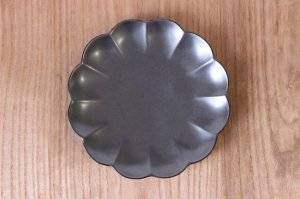 19cm菊割皿 銀砂