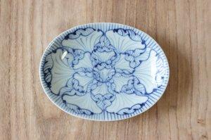 染付花弁紋 楕円皿(小)