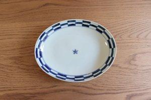 市松 楕円皿(大)