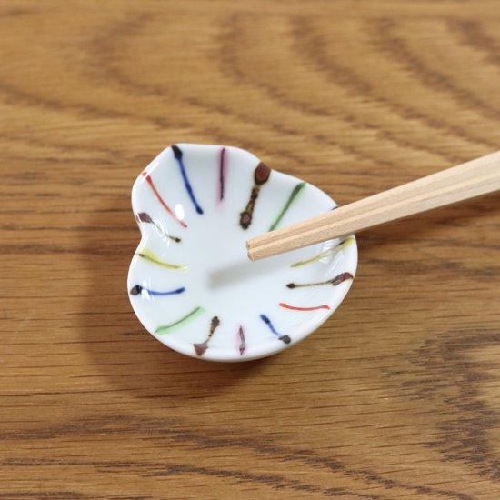 瓢型豆皿 染錦線十草