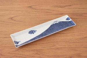 長角皿 富士山(青)