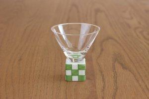 ミニ酒グラス正角 錦市松(緑)