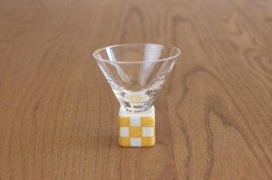 ミニ酒グラス正角 錦市松(黄)
