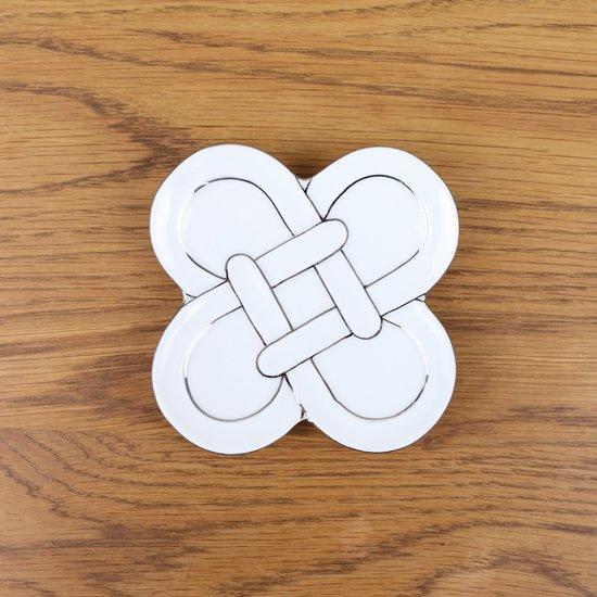 四つ葉結び小皿(プラチナ)