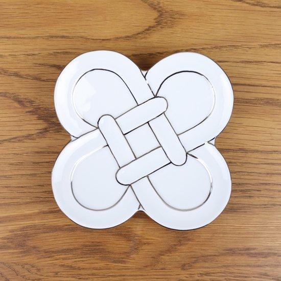 プラチナ線四つ葉結び 銘々皿