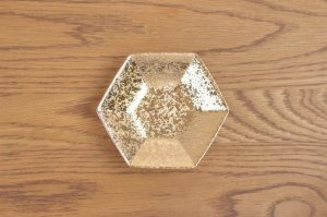六角小皿 金彩