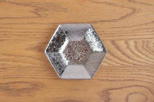 六角小皿 プラチナ彩