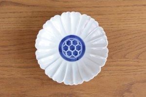 花型5.5寸皿 染付見込亀甲紋