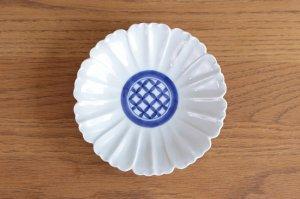 花型5.5寸皿 染付見込七宝紋