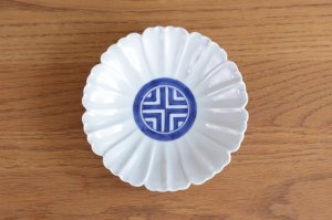 花型5.5寸皿 染付見込縞紋