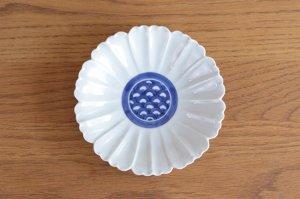 花型5.5寸皿 染付見込青海波