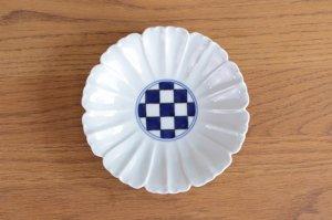 花型5.5寸皿 染付見込市松