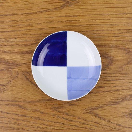 3.5寸皿 染付和市松