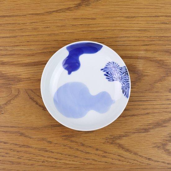 3.5寸皿 染付三方瓢絵