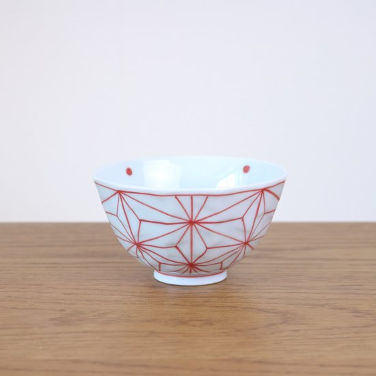 面取飯碗(小)染付麻の葉紋
