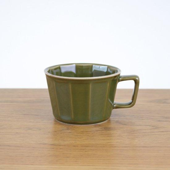 面取スープカップ(ダークグリーン)