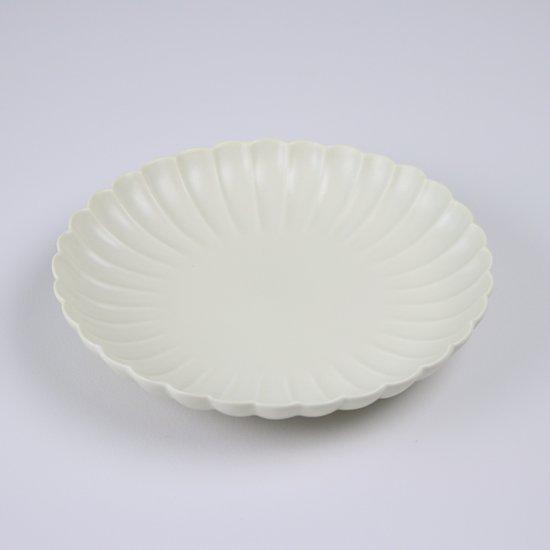 菊彫六寸皿 アイボリーマット