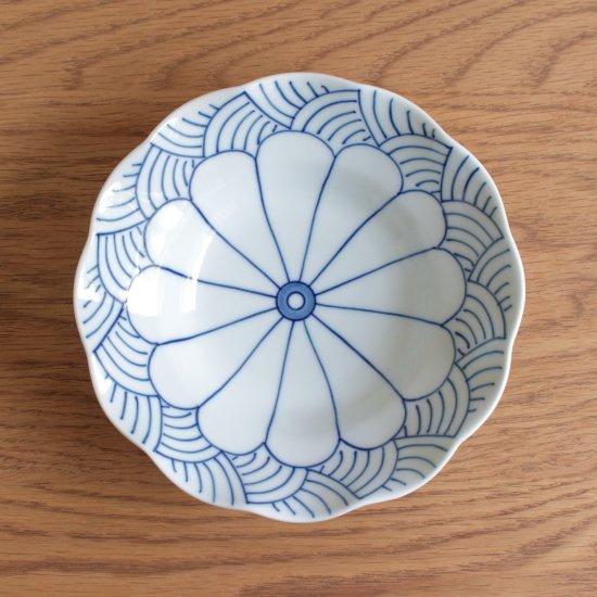 菊割青海波 深皿(大)