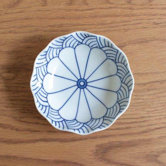 菊割青海波 深皿(小)