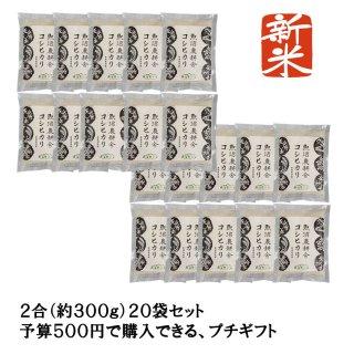 新米予約受付中 令和3年産 プチギフト20個セット 精米 特別栽培米 魚沼産コシヒカリ 2合(300g)×20袋