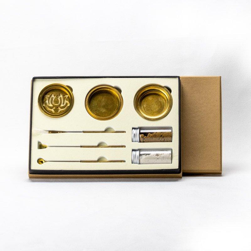 【お香型抜き】「蓮」型抜き上香炉セット 抹香・燃香専用