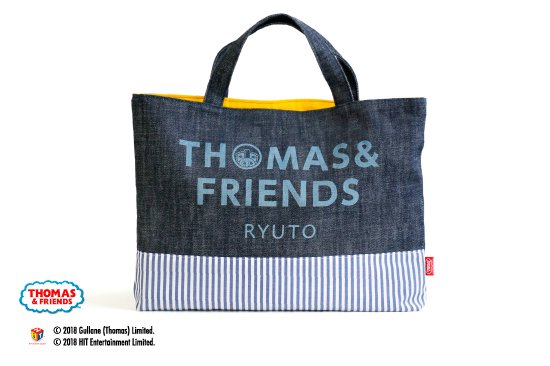 kikka for mother(キッカフォーマザー)  THOMAS&FRIENDS(きかんしゃトーマス) 名入れができるデニムレッスンバッグ(Stripe) 商品画像