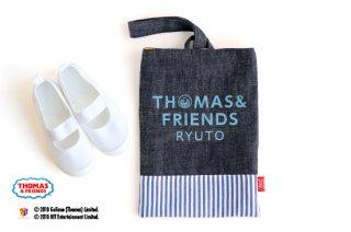 THOMAS&FRIENDS(きかんしゃトーマス) 名入れができるデニムシューズバッグ(Stripe)