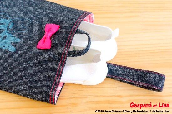 Gaspard et Lisa(リサとガスパール) 名入れができるデニムシューズバッグ(Ribon) 商品画像