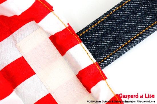 Gaspard et Lisa(リサとガスパール) 名入れができるデニムシューズバッグ(Stripe) 商品画像