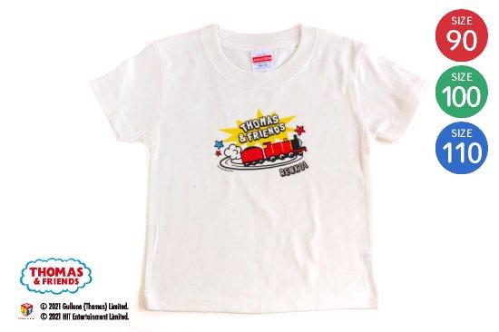 kikka for mother(キッカフォーマザー)  THOMAS&FRIENDS(きかんしゃトーマス)名入れができるTシャツ(横向きジェームス) SIZE:90・100・110 商品画像