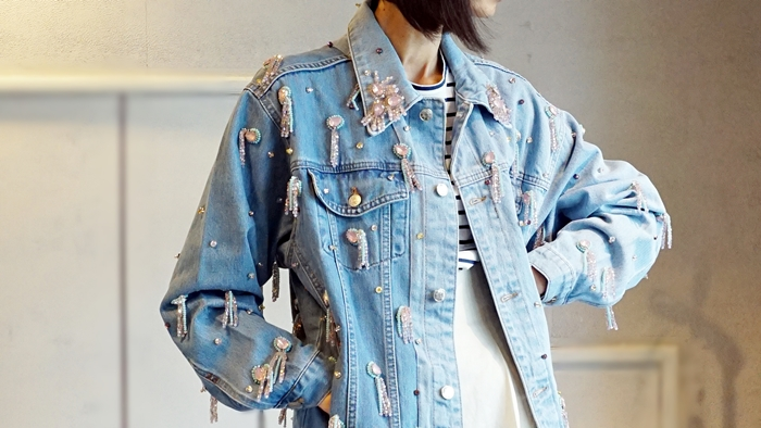 anouki,denim jacket ,swarovski