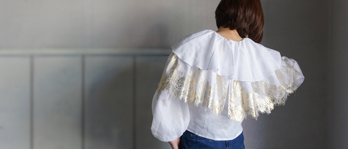 over lace,gold foil  lace top