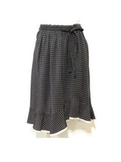 PHILOSOPHY DI ALBERTA FERRETTI ウエストリボン&裾フリルドットスカート ★sale