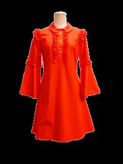 VIVETTA ヴィヴェッタ 赤いネイルの手形の衿ベルスリーブワンピースDIK DIK