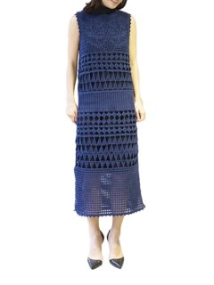 AKIRA NAKA アキラナカ lattice flower hand knit dress