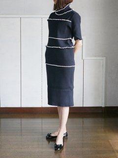 AKIRA NAKA Wave rib dress BK