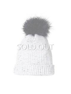 KARL DONOGHUE カールドノヒュー ラクーンファーボンボン付きカシミヤニット帽子