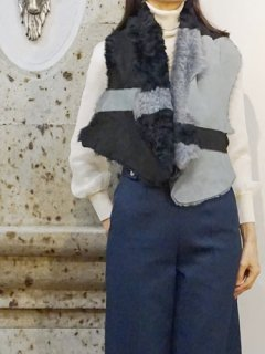 KARL DONOGHUE カールドノヒュー Alpine lambskin  stripe shrug★sale